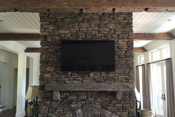 Stone Fireplace Tv Installation