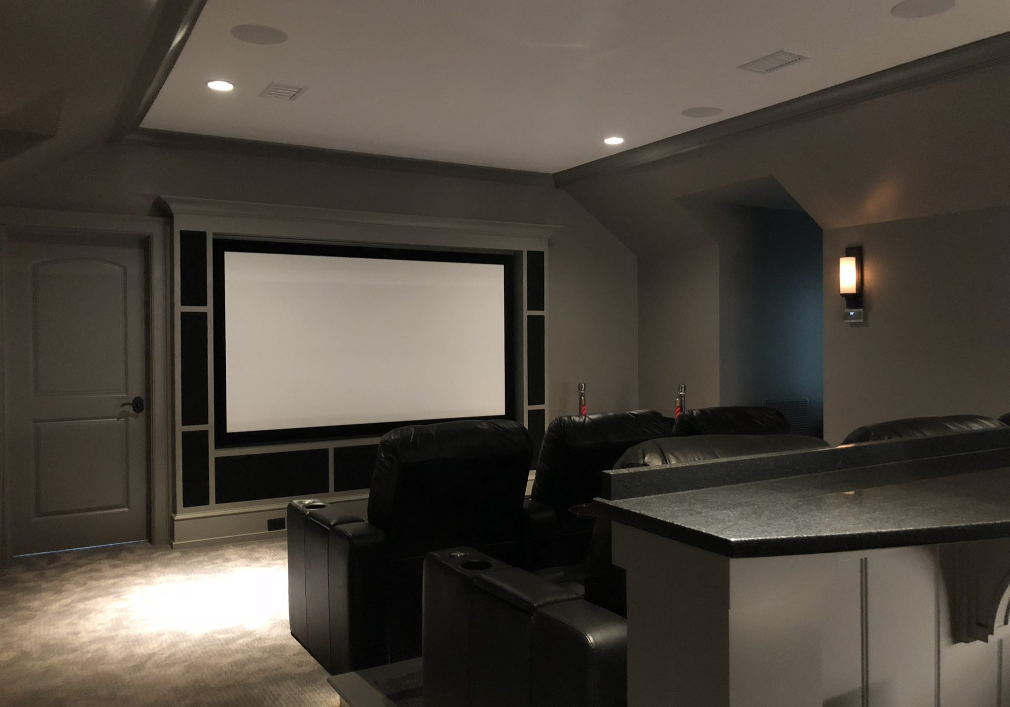 Final stages of a custom built home theater room