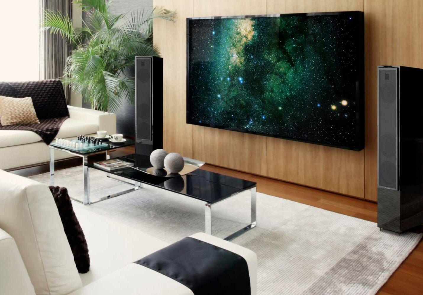 tower speakers living room